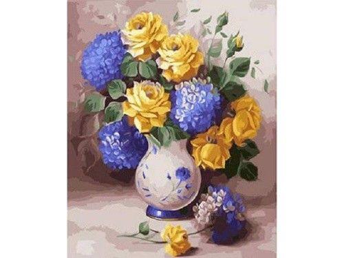 Картина по номерам «Розы и гортензии»