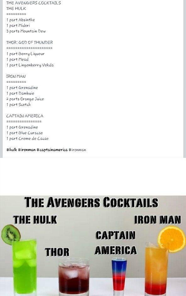 The Avengers cocktails including the Hulk, Thor, Captain America, Iron Man
