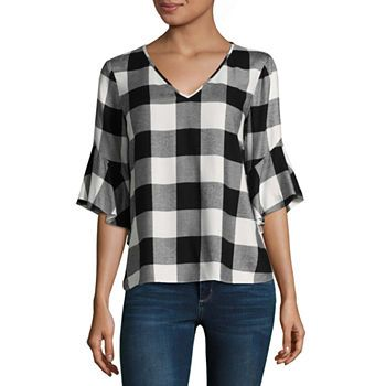 A N A Tops For Women Jcpenney Fashion Plaid Shirts Bell Sleeves