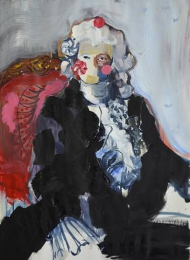 """Saatchi Art Artist Hannah Dean; Painting, """"Missewer Candy Face wished his chair had lumbar support."""" #art"""
