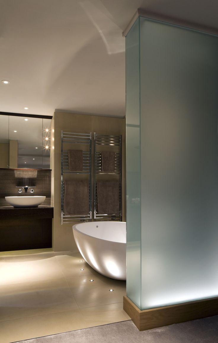 bathroom lighting solutions. Brilliant Lighting LED Uplights And Illuminated Glass Wall Featured In June 2014 Kitchens U0026 Bathrooms Bathroom Solutions