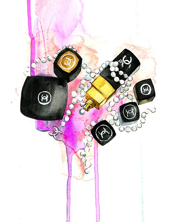 Chanel make-up illustration by fashion illustrator Rongrong DeVoe
