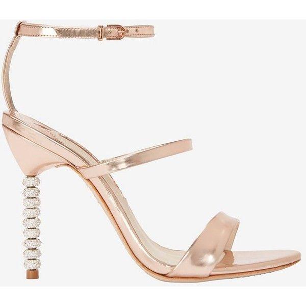 Sophia Webster Rosalind Triple Strap Crystal Heel Sandal ($495) ❤ liked on Polyvore featuring shoes, sandals, gold, strappy high heel shoes, strappy sandals, sophia webster shoes, adjustable shoes and crystal sandals