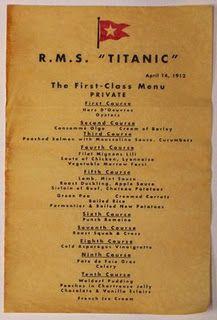 First class menu of from the Titanic. April 14th, 1914First Class, April 14, Class Menu, Titantic Tribute, 1St Class, Abbey Cooking, Class Titanic, Downton Abbey, Titanic Menu