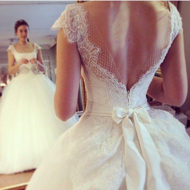 2016 новые свадебные платья свадебное платье с декольте бальное платье сексуальная с открытой спиной с бантом белые кружева длина кап-рукавом
