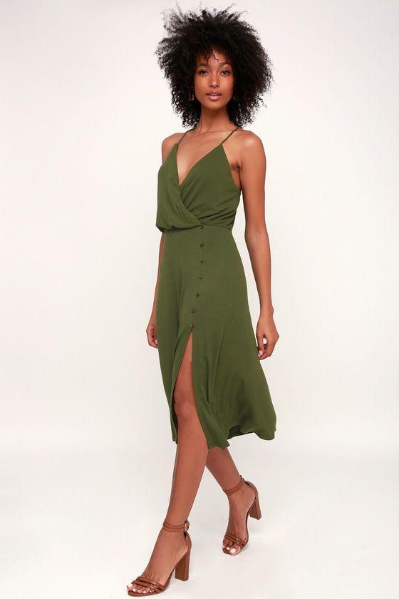 4aa01f535f3 Palm Tree Breeze Olive Green Ribbed Midi Dress