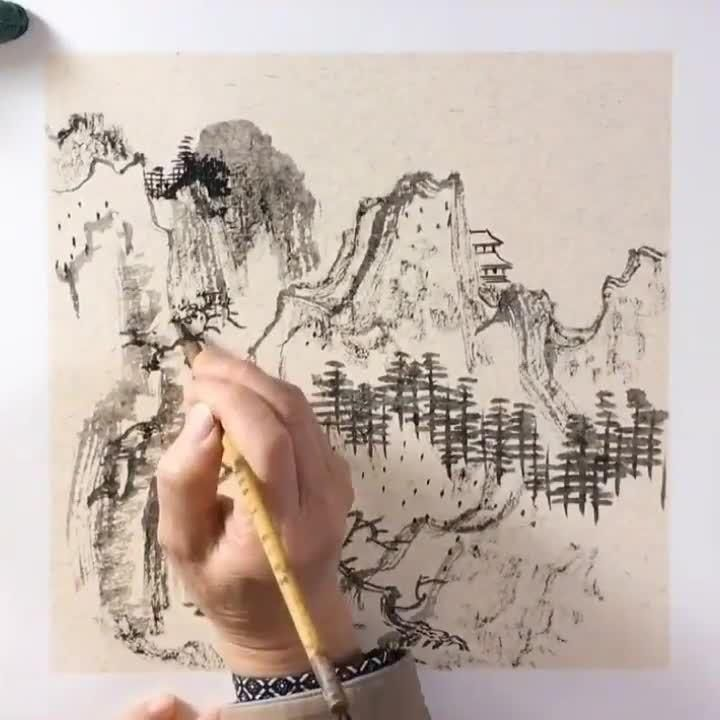 Chinese Landscape Painting, Chinese Painting, Chinese Art, Landscape Paintings, Chinese Calligraphy, Calligraphy Art, Sumi E Painting, Watercolor Paintings, Chinese Mountains