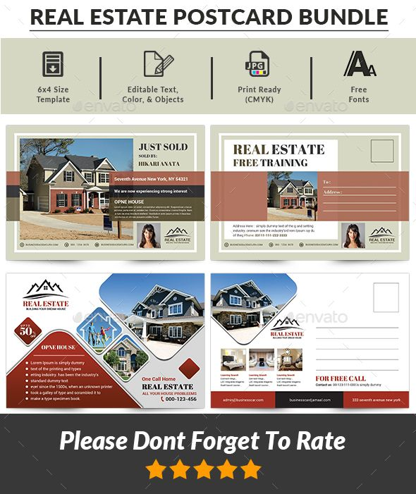 Real Estate Postcard Bundle Cards Invites Print Templates