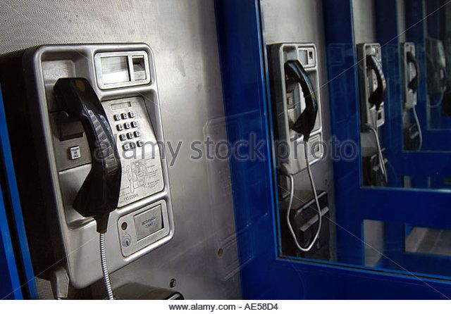 Public payphones in London England UK - Stock Image