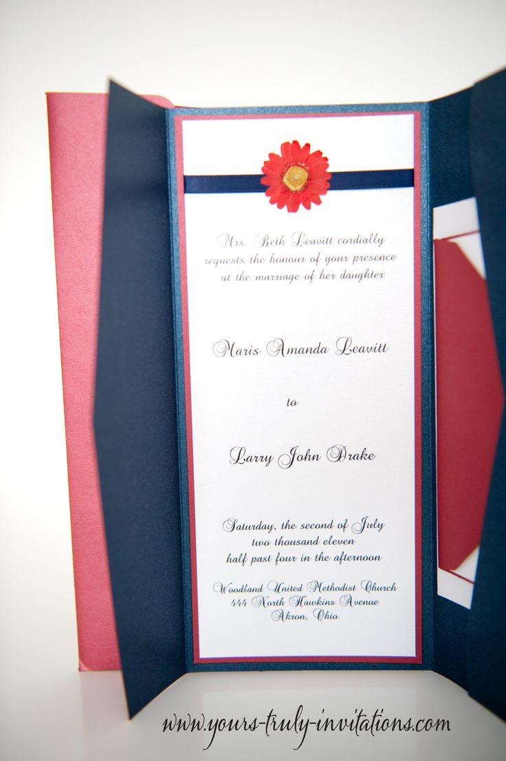 Daisy Wedding Invitation Pocket Folder By Yourstrulyinvitation
