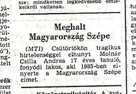 """""""Meghalt Magyarország Szépe"""""""
