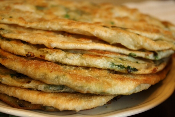 Chinese Green Onion Pancake. The pancake can be eaten at any meal, in ...