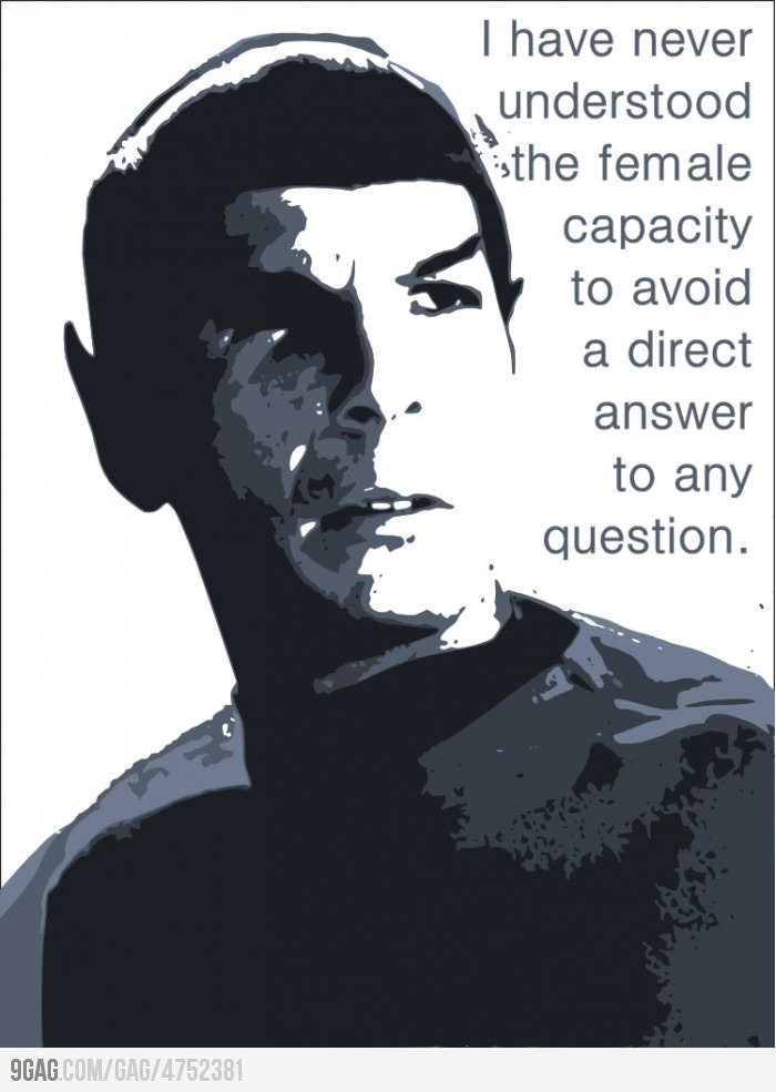 """Spock Quote :) In comparison to the New Star Trek Spock's response to Uhuras answer """"Unclear"""""""