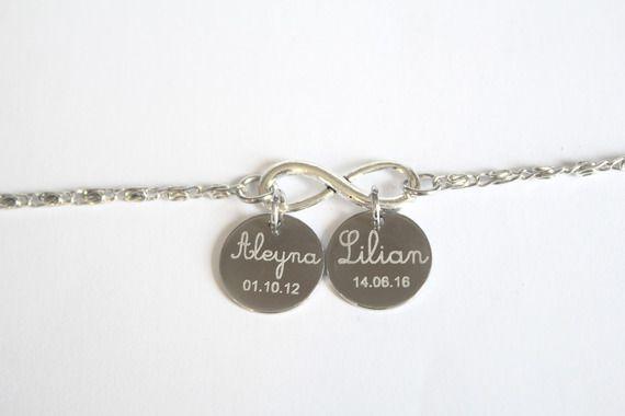 Collier infini 2 médailles gravées - gravure prénom texte - bijou gravé personnalisé