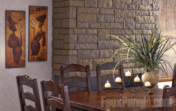 Random Rock Decorative Siding Panels Accent A Dining Room