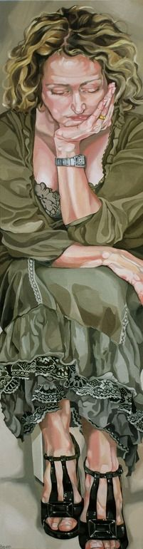 """Saatchi Online Artist: Jo Beer; Oil, 2011, Painting """"self portrait with favourite shoes SOLD"""""""