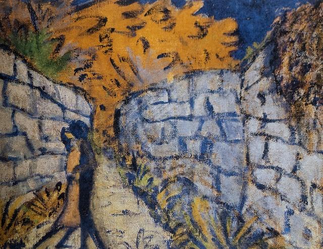 """Otto Mueller (1874-1930) """"Couple d'amoureux entre deux murs de jardin"""", 1916. Cat. 121 (coll. Brücke-Museum Berlin). Exposition """"Die Brücke (1905-1914) - Aux origines de l'expressionnisme"""". Musée de Grenoble (Isère, France)"""