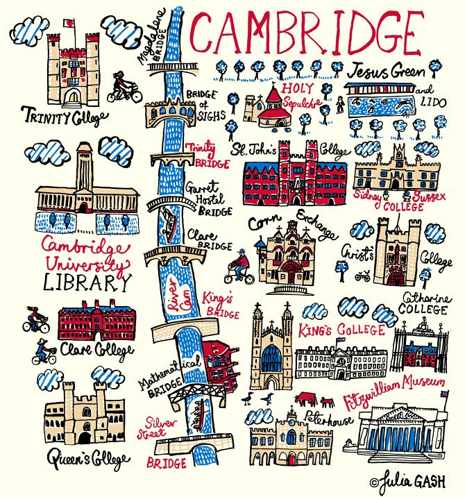 Julia Gash's unique interpretation of the ancient university of Cambridge is conveyed as a literal translation of the city's name. The focus of this delightful design is the many bridges over the River Cam, under which we see the famous University rowing team and someone taking a punt.