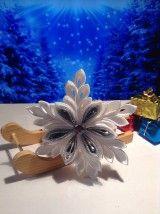Snehové vločky sú zhotovené zo saténových stúh technikou Kanzashi. Na každej vločke je biela stužka na zavesenie na stromček. Vločky majú priemer 10,5 cm. Vločky dodávam v darčekove...