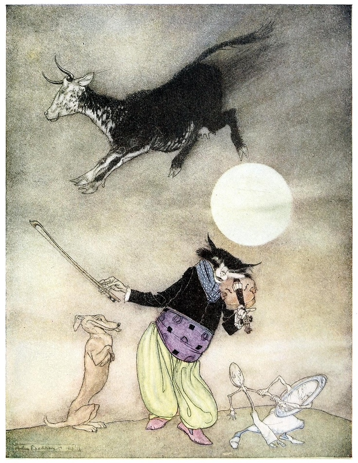 Hey! Diddle, diddle,  The cat and the fiddle    Arthur Rackham, from The old nursery rhymes, New York, 1913.