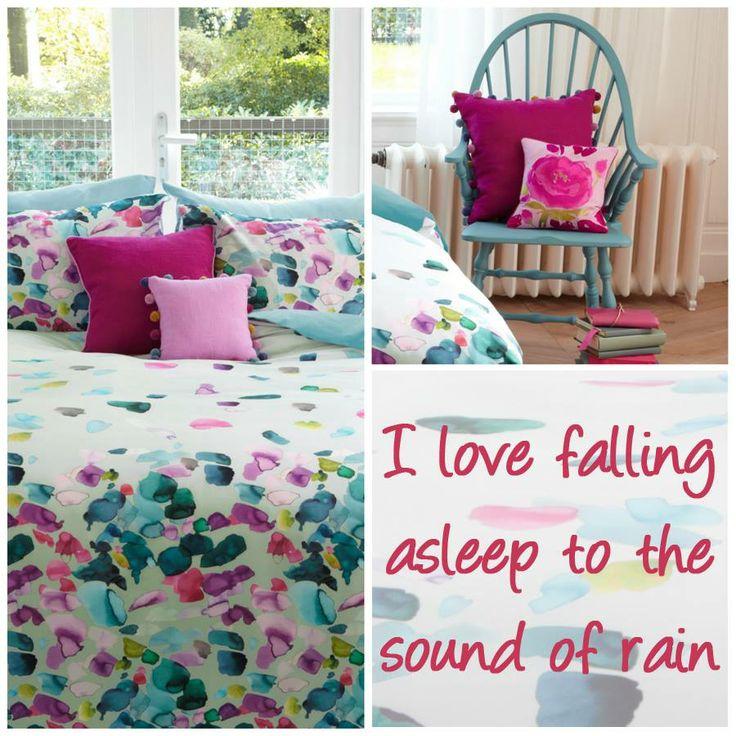 """Na een drukke dag is het fijn om thuis te komen en 's avonds in bed weg te dromen onder dit kleurrijke overtrek en dan maakt het eigenlijk niet zo heel erg uit of het buiten nog regent. Slaap lekker!   """"I love falling asleep to the sound of rain"""" #quotes #swisssense #bedroom @Beddinghouse"""