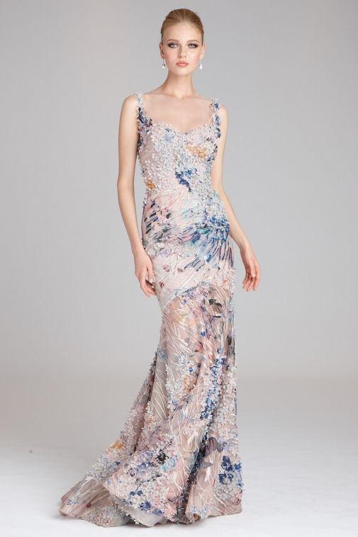 Floral Applique Illusion Mermaid Gown