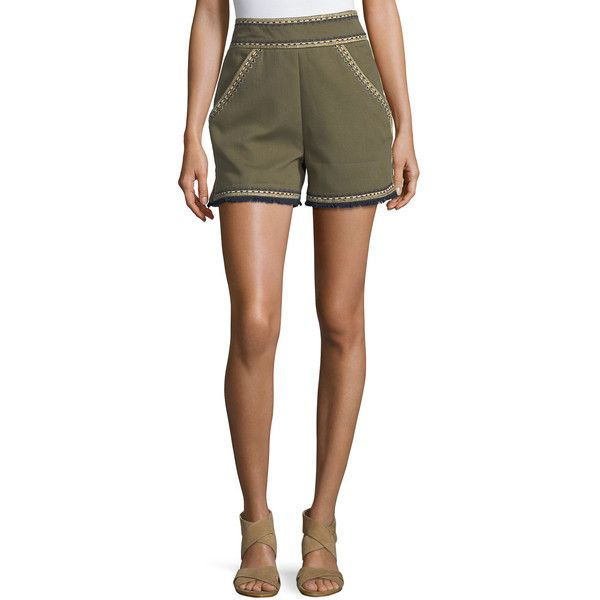 Talitha Collection Embroidered High-Waist Shorts ($440) ❤ liked on Polyvore featuring shorts, olive, geometric shorts, high waisted cotton shorts, olive green shorts, highwaist shorts and army green shorts