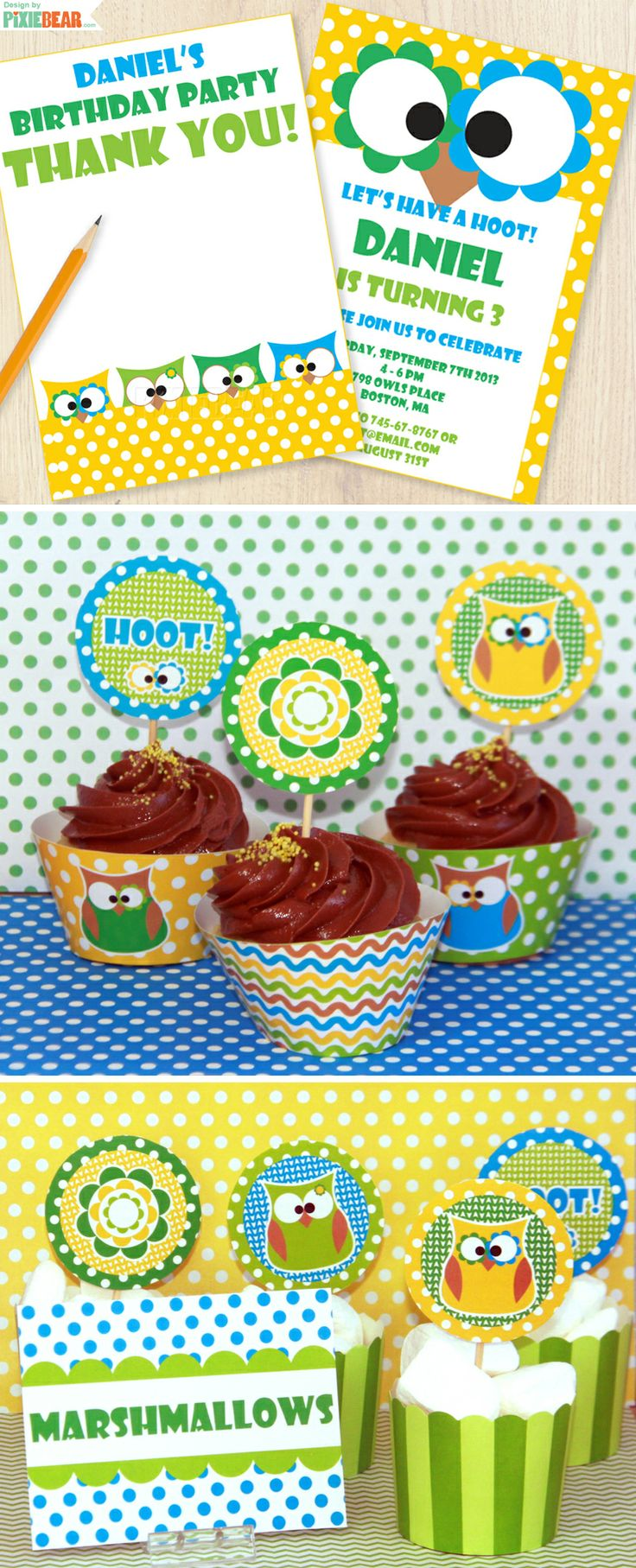 Owl Printable Party Set - DIY Owl Birthday Party by PixieBearParty on Etsy