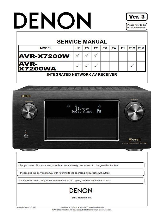 Denon AVR X7200W X7200WA AV Receiver Service Manual in 2019 | Denon
