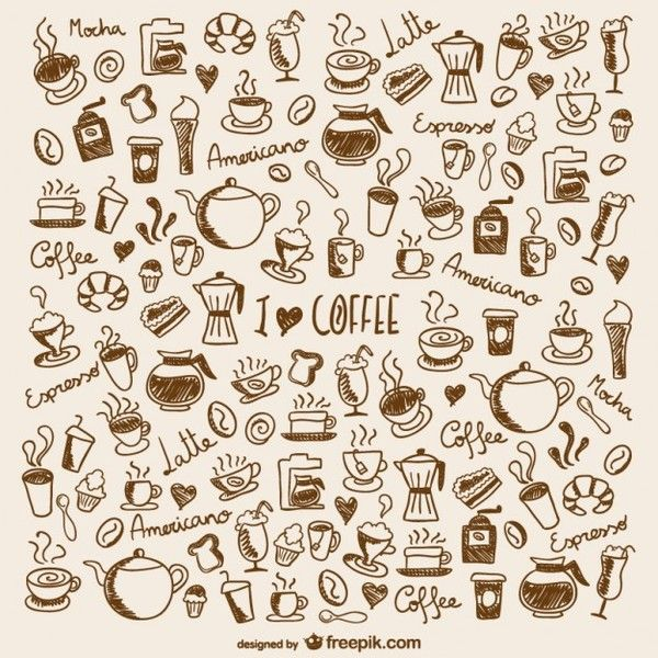 Coffee Doodles Free Vector. More Free Vector Graphics, www.123freevectors.com