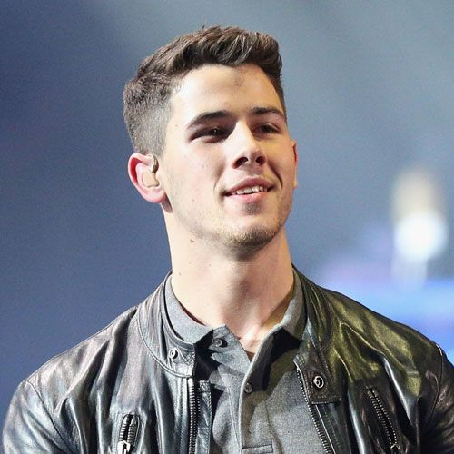 Nick Jonas New Haircut - Textured Top + Side Swept Fringe + Fade