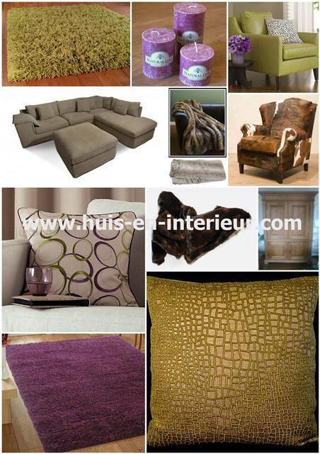 Combinatie van taupe met olijfgroen en aubergine http for Huis en interieur