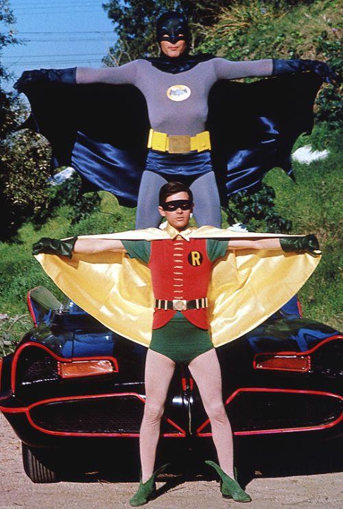 Adam West and Burt Ward on the Batman TV series, 1960s