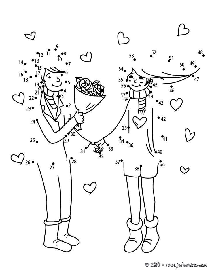 Jeux des points à relier Saint Valentin - Couple bouquet points à relier difficile
