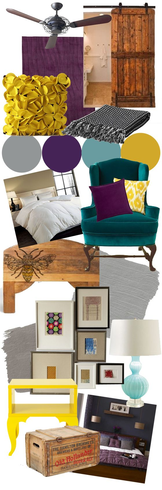 similar colors- mood board... But instead of purple, maybe navy blue. Like the bottom bedroom picture.