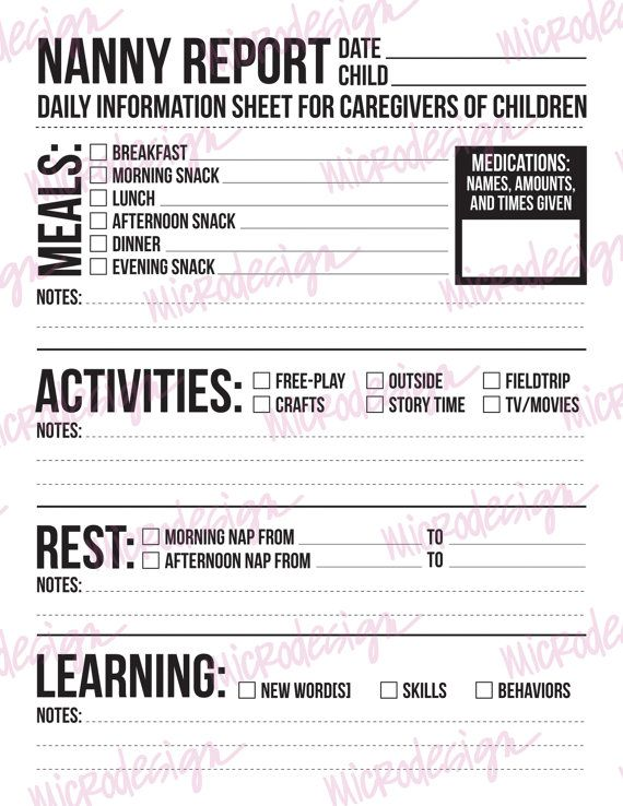 Nanny Report: Daily Information Sheet for by microdesign on Etsy