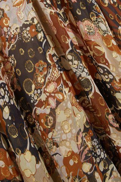 Chloé - Metallic Fil Coupé Silk-chiffon Maxi Dress - Beige