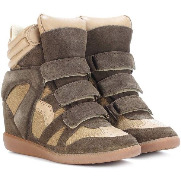 Isabel Marant Bekett Leather and Suede Sneakers (2.060 BRL) ❤ liked on Polyvore featuring shoes, sneakers, isabel marant, isabel marant shoes, isabel marant trainers and isabel marant sneakers