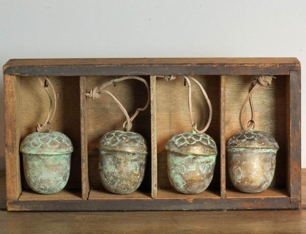 Charming Vintage/verdigris Copper Acorn Hanging Decoration