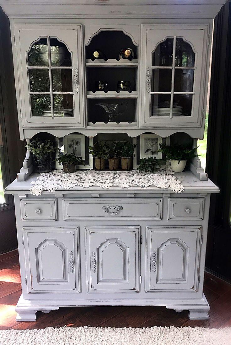 Shabby Corner Cabinet Vintage Chippy Gray Farmhouse Decor