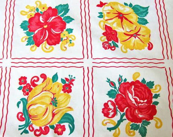 Vintage Tea Towel Square Floral Red Yellow By OutsideInArtStudio