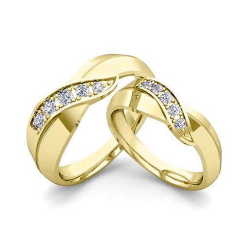 His and Her Wedding Band Set Infinity Diamond Wedding Rings Anniversary Ring 18k Yellow Gold (Provide us His & Her Ring Sizes When Placing Order) Provide us His & Her Sizes When Placing Order. Ring Size: 3 to 13 (Half & Quarter Size Available). Made in USA (New York). 45-Day Money Back Guarantee. Free Ring Engraving & Free Gift Packaging.  #MyLoveWeddingRing #Jewelry