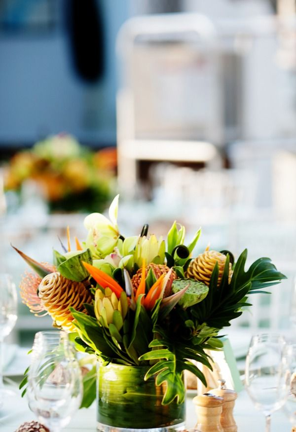 Tropical Wedding Flowers Reception Decor Flower Centerpiece
