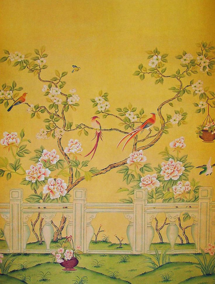 214 best chinoiserie images on pinterest wall murals for Chinoiserie mural wallpaper
