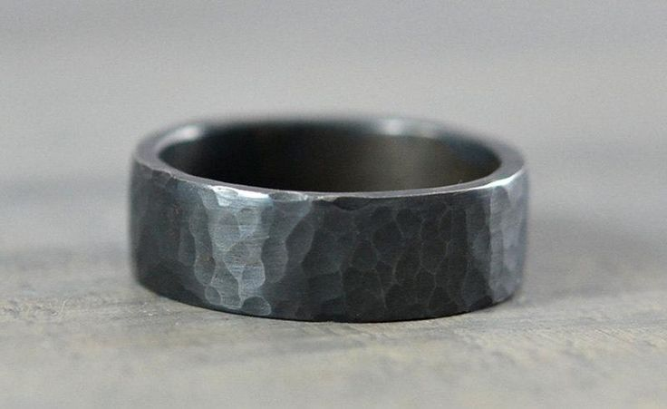 Sterling Silver Mens Wedding Bands - Hammered Ring - 7mm Textured and Oxidized Sterling Silver Band - Handmade Wedding Ring for Men $88