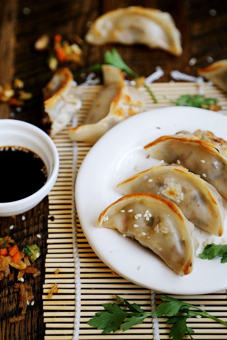 Fried Vegan Dumplings with Bok Choy and Shiitake Mushrooms #food #recipe