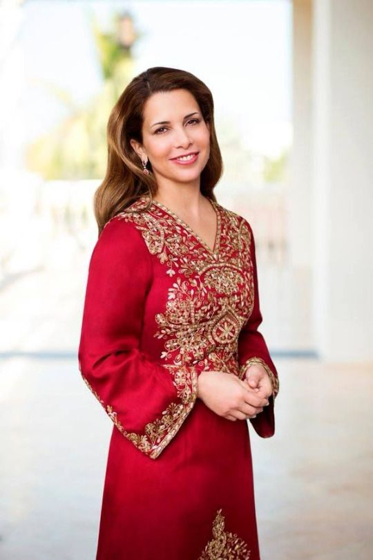 The Hashemites : Princess Haya bint Al Hussein of Jordan, wife of Dubai's ruler Sheikh Mohammed bin Rashid Al Maktoum, in an official portrait. The princess, despite being part of Dubai's ruling family, is still seen frequently in her motherland Jordan's traditional dresses. Here she is wearing a traditional Jordanian thoub designed by the royal family's favourite fashion house Kumbaz