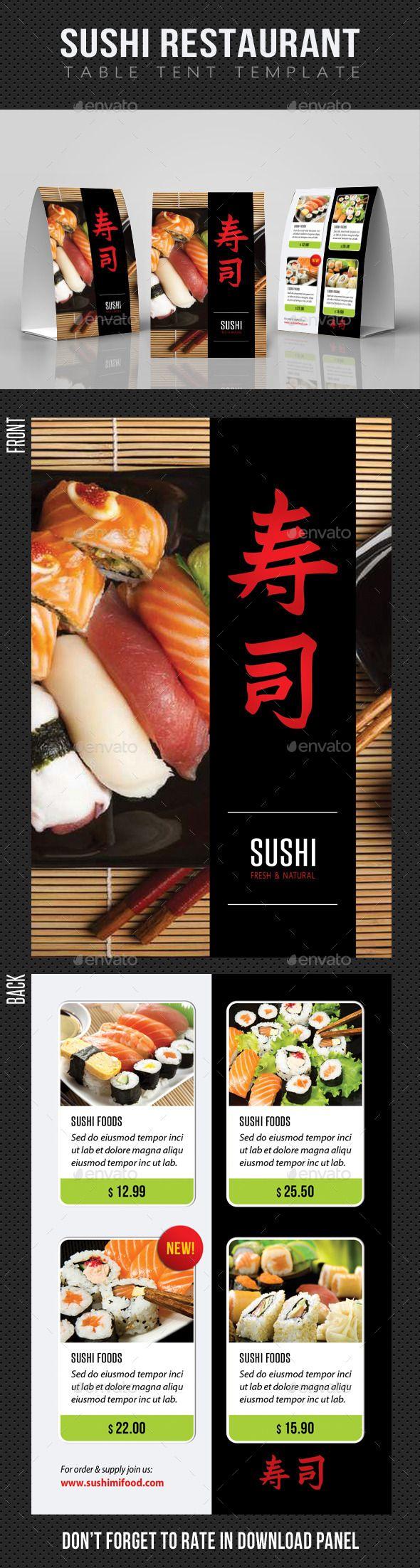 61 best sushi flyer sushi restaurant menu print templates sushi restaurant table tent template pronofoot35fo Gallery