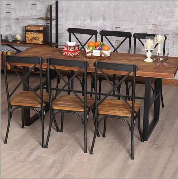 American Country Retro Wood Wrought Iron Table And Chairs Iron