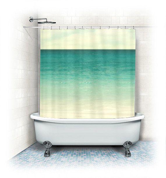 """Ocean Stoff Duschvorhang """"Wonderful World"""" Strand, Aqua Wohnkultur, blaugrün, Türkis, nautische Dekoration, Meer, Sand, Sommer, Hawaii, Typo..."""